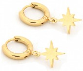 A-D7.5 E1842-003 Stainless Steel Earrings Northern Star Gold 10mm with 13mm Charm