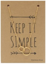 N1759-003 Stainless Steel Necklace Circles Gold