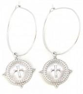E-B7.5 E304-003 Hoop Earrings with Cross Silver