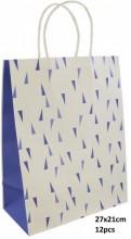 Q-K2.1 PK525-007C Paper Giftbag 27x21cm Blue 12pcs