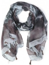 K-C7.1 S107-007 Scarf with Stars and Tassels 85x180cm Grey