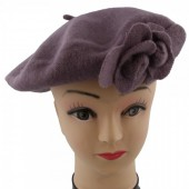 S-E5.1 Trend Woolen Baret With Flowers Purple