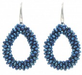 A-C8.2  E007-001 Facet Glass Beads 4.5x3.5cm Blue