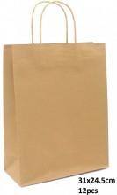 Y-F6.5  PK525-004C Paper Giftbag 31x24.5cm Brown 12pcs