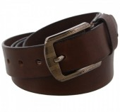 S-E8.4  Grain Leather Belt 3.3x130cm Adjustable 111-121cm Dark Brown