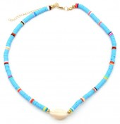 D-D3.1 N1925-009 Choker Surf Beads with Shell 37-43cm Blue