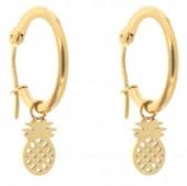 E015-012D Stainless Steel Earrings 16mm Pineapple Gold