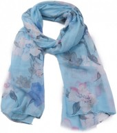 X-G4.2 SCARF507-007D Scarf with Flowers 180x90cm Blue