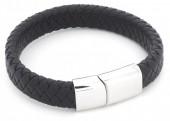 F-B16.3 B105-003 Leather Bracelet with Stainless Steel Lock 21cm Black