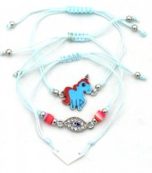 F-A17.2 B316-001 Bracelet Set 3pcs Unicorn Blue