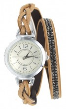 E-A10.2 W1202-001 PU Wrap Watch with Crystals Brown