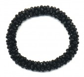B-F9.1 B008-001B Bracelet with Faceted Glass Beads Black