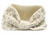 R-M3.1 Knitted Headband with Stars-Pearls-Crystals Beige