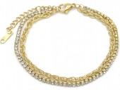 A-F5.4 B014-007G S. Steel Layered Bracelet with Crystals Gold