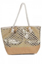X-B8.1 BAG217-005 Beach Bag with Wicker and Metallic Zig-Zag 54x40cm White-Gold