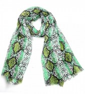 X-M6.1 S314-004  Scarf with Snake print 180x90cm Green