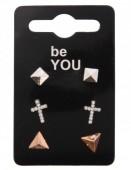 B-D5.1    3 Pair Earrings Silver-Rose Gold