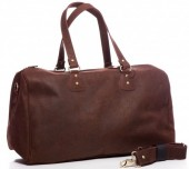R-E8.2 BAG-921 Luxury Leather Travel-Sport Bag 47x32x16cm Brown