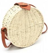 Z-E3.5 BAG323-002 Round Straw Bag with PU Straps Beige 18.5x7 cm