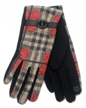 R-L2.2 GLOVE403-072A Checkered Glove Brown-RedR-L2.2 GLOVE403-072A Checkered Glove Brown-Red