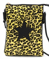 T-F6.2  BAG326-002 PU Festival Crossbody Bag Leopard with Star 20x15cm Yellow