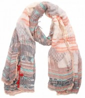 L-E7.1 Scarf with Aztek print - Fringes and Tassels 180x70cm