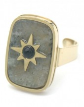 F-A20.1 R521-001 Stainless Steel Ring with Stone and Star Adjustable