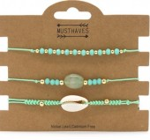 B019-002 Bracelet set 3pcs with Stone and Shell Green