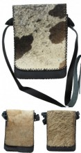 T-B6.1 Black Leather Cross Body Bag With mixed Cow Hide 19x27x7cm
