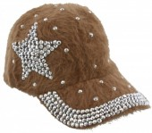 S-H1.3 Cap Fake Fur with Crystals and Star Brown