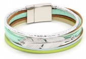 B104-004 Leather Bracelet with Feather Silver-Green