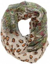 S-H7.3  Loop Scarf with Animal Print Multi Color