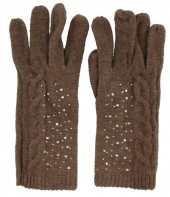 S-G6.4 Gloves with Crystals Brown