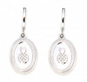 E-C17.1 E304-010 Metal Earrings Pineapple Silver
