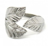 H-E19.1 R110202S S. Steel ring Leaves Adjustable Silver
