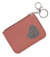 S-B2.1 WA1202-003 Keychain Wallet with Heart and Crystals 12x8.5cm Pink