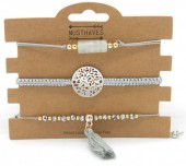 E-F18.2  B019-001 Bracelet Set 3pcs with Tassel Grey