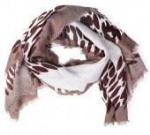 K-F2.2 S110-001 Square Scarf with Animal Print 140x140cm Brown