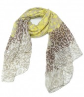 X-L3.2 S206-005 Scarf with Leopard Print 100x180cm Yellow