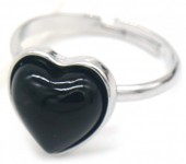 E-E20.4 R4934-009 Adjustable Ring Black Onyx Silver