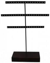 R-E3.1 Wood with Metal Earring Display 30x23x7cm Dark Brown-Black