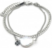 A-A6.4 B014-022S S. Steel Layered Bracelet Freshwater Pearl Silver