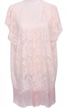 S-E5.2 Beach Poncho with Fringes and Lace Pink