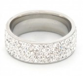 R126-010 Stainless Steel Ring with Crystals #18