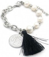 A-D3.2 B014-003S S. Steel Bracelet Freshwater Pearls Silver