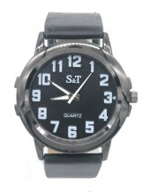 A-D9.1 W523-002A Quartz Watch with PU Strap 45mm Black