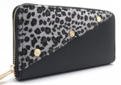 Q-O7.1 WA420-001 PU Wallet with Leopard Fur and Screws Grey