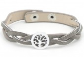 H-E19.3 B016-004 Leather Bracelet Tree of Life 19 - 21cm Grey