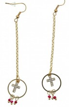 D-E25.3 Earrings Cross Gold 9cm