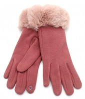 T-L7.1 GLOVE501-003C Soft Gloves with Fake Fur Pink